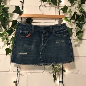AEO Distressed Denim Mini Skirt